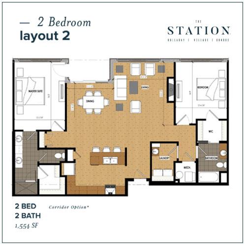 2 Bed | 2 Bath | 1,554 SF