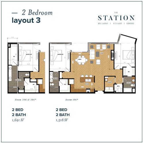 2 Bed | 2 Bath | 1,691 SF or 1,518 SF